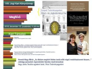 TSZE JKJN KK 5. kötet bemutató_Homoki-Nagy Mária_Jogi Kari Könyvünnep_SZTE ÁJK_2018.12.13.